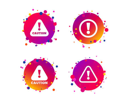 Attention caution icons. Hazard warning symbols. Exclamation sign. Gradient circle buttons with icons. Random dots design. Vector