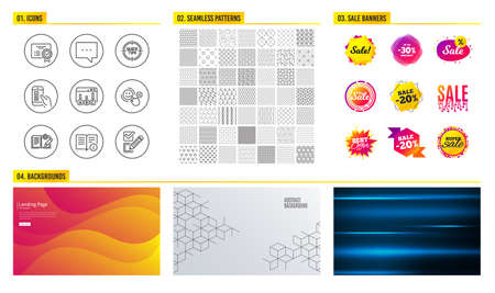 Seamless pattern. Shopping mall banners. Set of Blog, Survey results and Mobile survey icons. Technical info, Certificate and Tips signs. Vector