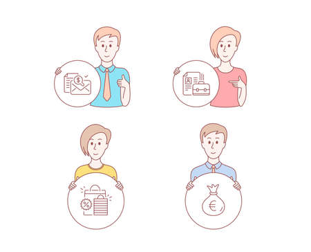 People hand drawn style. Set of Shopping bags, Accounting report and Vacancy icons. Money bag sign. Sale discount, Check finance, Hiring job. Euro currency.  Character hold circle button. Vector
