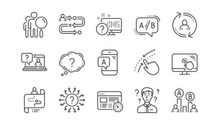 AB testing, Journey path map and Question mark. Quiz test linear icon set.  Vector