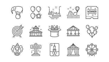 Amusement park line icons. Carousel, Roller coaster and Circus. Clown linear icon set.  Vector