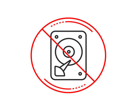 No or stop sign. HDD icon. Hard disk storage sign. Hard drive memory symbol. Caution prohibited ban stop symbol. No  icon design.  Vector