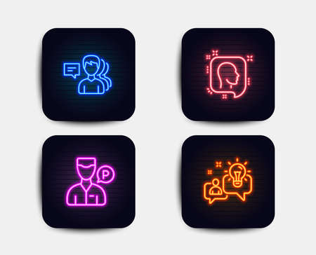 Neon set of People, Valet servant and Head icons. Idea sign. Support job, Parking man, Profile messages. Solution. Neon icons. Glowing light banners. Vector Illustration