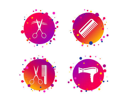 Hairdresser icons. Scissors cut hair symbol. Comb hair with hairdryer sign. Gradient circle buttons with icons. Random dots design. Vector