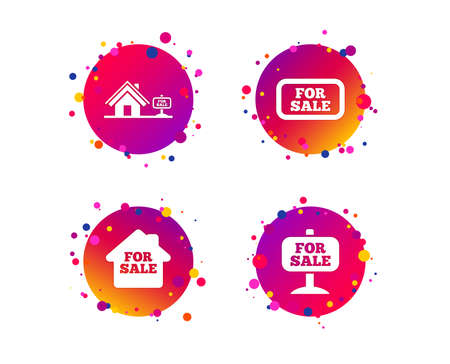 For sale icons. Real estate selling signs. Home house symbol. Gradient circle buttons with icons. Random dots design. Vector