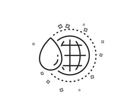 World water line icon. Clean aqua drop sign. Liquid symbol. Geometric shapes. Random cross elements. Linear World water icon design. Vector