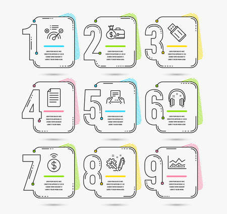 Infographic template with numbers 9 options. Set of Headphones, Receive file and File icons. Usb flash, Engineering and Contactless payment signs. Correct answer, Salary and Trade infochart symbols  イラスト・ベクター素材