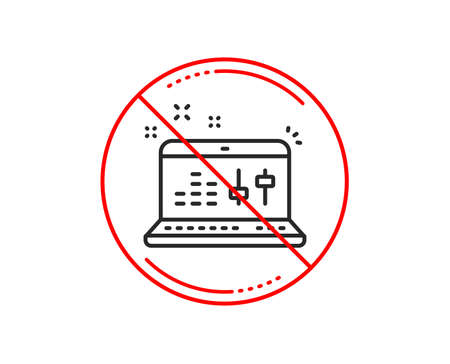 No or stop sign. Sound check line icon. DJ controller sign. Musical app on laptop symbol. Caution prohibited ban stop symbol. No  icon design.  Vector Illustration