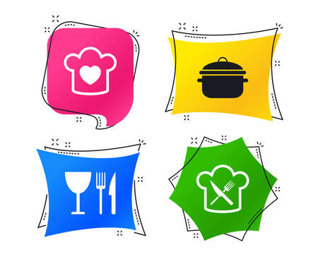 Chief hat with heart and cooking pan icons. Crosswise fork and knife signs. Boil or stew food symbol. Geometric colorful tags. Banners with flat icons. Trendy design. Vector