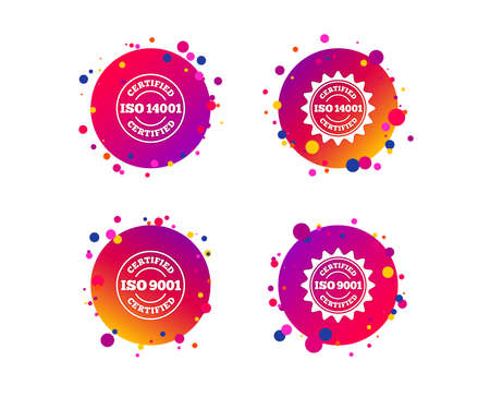 ISO 9001 and 14001 certified icons. Certification star stamps symbols. Quality standard signs. Gradient circle buttons with icons. Random dots design. Vector