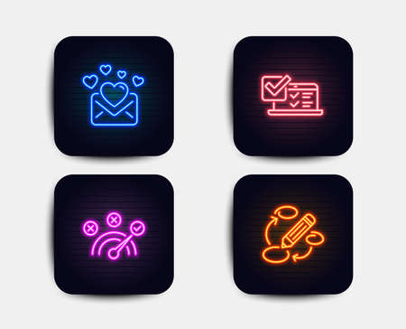 Neon glow lights. Set of Correct answer, Love mail and Online survey icons. Keywords sign. Speed symbol, Valentines letter, Quiz test. Marketing strategy.  Neon icons. Glowing light banners. Vector Illustration