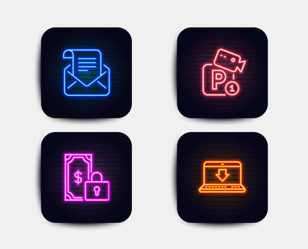 Neon glow lights. Set of Private payment, Mail newsletter and Parking security icons. Internet downloading sign. Secure finance, Open e-mail, Video camera. Load data.  Neon icons. Vector Ilustração