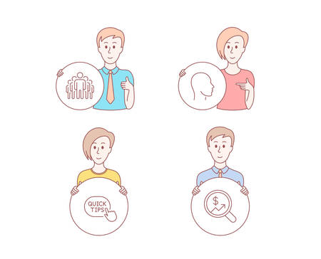 People hand drawn style. Set of Head, Quick tips and Group icons. Currency audit sign. Human profile, Helpful tricks, Managers. Money chart.  Character hold circle button. Man with like hand. Vector