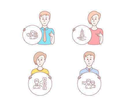 People hand drawn style. Set of Crowdfunding, Woman love and Opinion icons. People talking sign. Start business, Romantic people, Choose answer. Contact service.  Character hold circle button. Vector