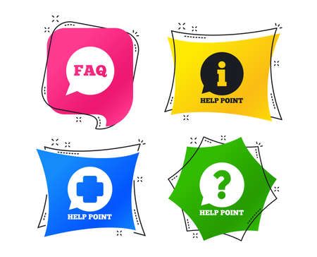 Help point icons. Question and information symbols. FAQ speech bubble signs. Geometric colorful tags. Banners with flat icons. Trendy design. Vector  イラスト・ベクター素材