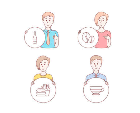 People hand drawn style. Set of Burger, Champagne bottle and Coffee beans icons. Americano sign. Cheeseburger, Anniversary alcohol, Whole bean. Beverage cup.  Character hold circle button. Vector Illustration