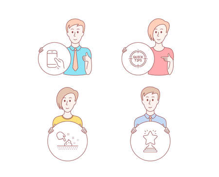 People hand drawn style. Set of Hold smartphone, Tips and Skin moisture icons. Winner sign. Phone call, Quick tricks, Wet cream. Best star.  Character hold circle button. Man with like hand. Vector Illustration