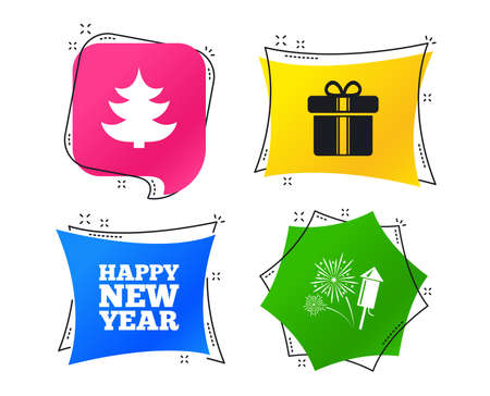 Happy new year icon. Christmas tree and gift box signs. Fireworks rocket symbol. Geometric colorful tags. Banners with flat icons. Trendy design. Vector Illustration
