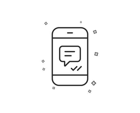Phone Message line icon. Mobile chat sign. Conversation or SMS symbol. Geometric shapes. Random cross elements. Linear Message icon design. Vector Illustration