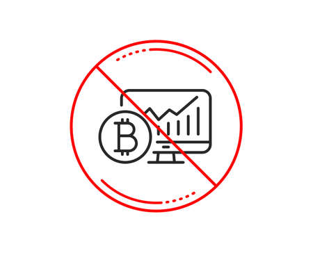 No or stop sign. Bitcoin graph line icon. Cryptocurrency analytics sign. Crypto money statistics symbol. Caution prohibited ban stop symbol. No  icon design.  Vector