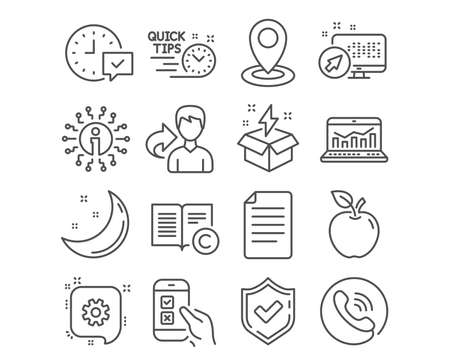 Set of File, Quick tips and Location icons. Creative idea, Copyright and Cogwheel signs. Select alarm, Mobile survey and Web analytics symbols. Paper page, Helpful tricks, Map pointer. Vector