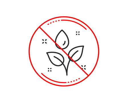 No or stop sign. Plants watering line icon. Leaves dew sign. Environmental care symbol. Caution prohibited ban stop symbol. No  icon design.  Vector Illustration