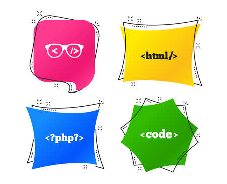 Programmer coder glasses icon. HTML markup language and PHP programming language sign symbols. Geometric colorful tags. Banners with flat icons. Trendy design. Vector Illustration