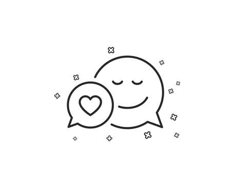 Comic speech bubble with Smile line icon. Chat emotion with heart sign. Geometric shapes. Random cross elements. Linear Dating icon design. Vector Illustration