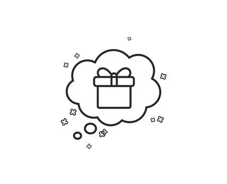 Dreaming of Gift line icon. Present box in Comic speech bubble sign. Birthday Shopping symbol. Package in Gift Wrap. Geometric shapes. Random cross elements. Linear Gift dream icon design. Vector