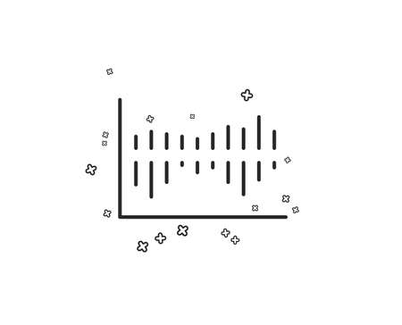 Column chart line icon. Financial graph sign. Stock exchange symbol. Business investment. Geometric shapes. Random cross elements. Linear Column diagram icon design. Vector Illustration
