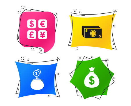 Currency exchange icon. Cash money bag and wallet with coins signs. Dollar, euro, pound, yen symbols. Geometric colorful tags. Banners with flat icons. Trendy design. Vector