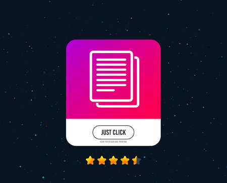 Copy file sign icon. Duplicate document symbol. Web or internet icon design. Rating stars. Just click button. Vector Illustration