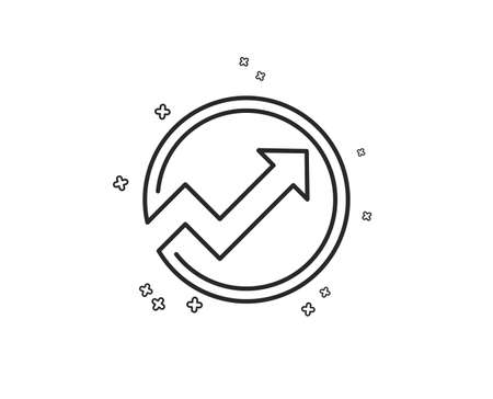 Chart line icon. Report graph or Sales growth sign in circle. Analysis and Statistics data symbol. Geometric shapes. Random cross elements. Linear Audit icon design. Vector