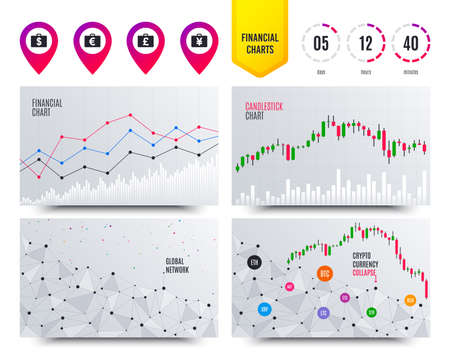Financial planning charts. Businessman case icons. Cash money diplomat signs. Dollar, euro and pound symbols. Cryptocurrency stock market graphs icons. Trendy design. Vector Illustration