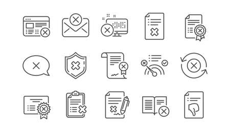 Reject line icons. Decline, Cancel and Dislike. Disapprove linear icon set.  Vector