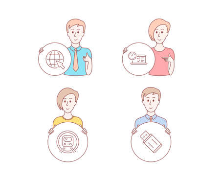 People hand drawn style. Set of Metro subway, Internet and Online test icons. Usb flash sign. Underground, World web, Examination. Memory stick.  Character hold circle button. Man with like hand