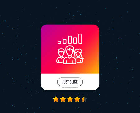 Teamwork results line icon. Group of people sign. Web or internet line icon design. Rating stars. Just click button. Vector