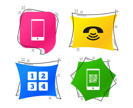 Phone icons. Smartphone with Qr code sign. Call center support symbol. Cellphone keyboard symbol. Geometric colorful tags. Banners with flat icons. Trendy design. Vector Illustration