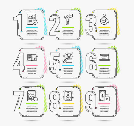 Infographic template with numbers 9 options. Set of Feedback, Web lectures and Agent icons. Internet report, Creative idea and Speakers signs. Share, Checked calculation and Private payment symbols
