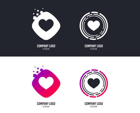 Love icon. Heart sign symbol.  Colorful buttons with icons. Vector