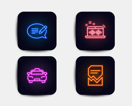 Neon glow lights. Set of Message, Taxi and Music making icons. Corrupted file sign. Speech bubble, Passengers transport, Dj app. Damaged document.  Neon icons. Glowing light banners. Vector