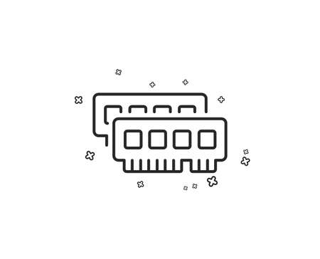 Ram line icon. Computer random-access memory component sign. Geometric shapes. Random cross elements. Linear Ram icon design. Vector Illustration
