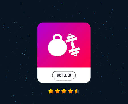 Dumbbell with kettlebell sign icon. Fitness sport symbol. Gym workout equipment. Web or internet icon design. Rating stars. Just click button. Vector