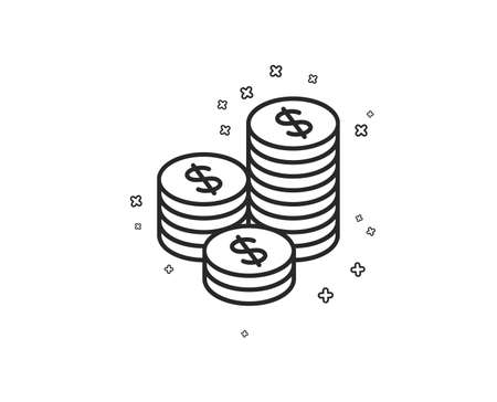 Coins money line icon. Banking currency sign. Cash symbol. Geometric shapes. Random cross elements. Linear Coins icon design. Vector  イラスト・ベクター素材