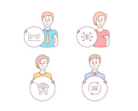 People hand drawn style. Set of Column diagram, Add products and Dollar exchange icons. Update data sign. Sale statistics, Shopping cart, Payment. Sales statistics.  Character hold circle button Illustration