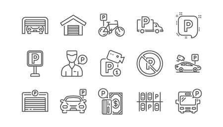 Icônes de ligne de stationnement. Garage, voiturier et parking payant. Jeu d'icônes linéaires de place de parc de transport de voiture. Vecteur Vecteurs