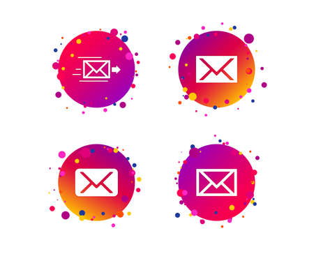 Mail envelope icons. Message delivery symbol. Post office letter signs. Gradient circle buttons with icons. Random dots design. Vector
