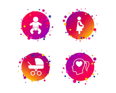 Maternity icons. Baby infant, pregnancy and buggy signs. Baby carriage pram stroller symbols. Head with heart. Gradient circle buttons with icons. Random dots design. Vector Illustration