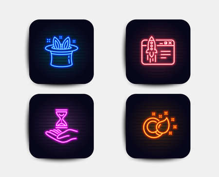 Neon glow lights. Set of Hat-trick, Start business and Time hourglass icons. Paint brush sign. Magic hat, Launch idea, Sand watch. Creativity.  Neon icons. Glowing light banners. Vector