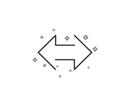 Sync arrows line icon. Communication Arrowheads symbol. Navigation pointer sign. Geometric shapes. Random cross elements. Linear Sync icon design. Vector
